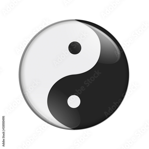 Fotografering  Black and white yin yang symbol
