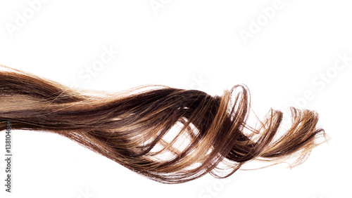 Fényképezés  brown hair on white background