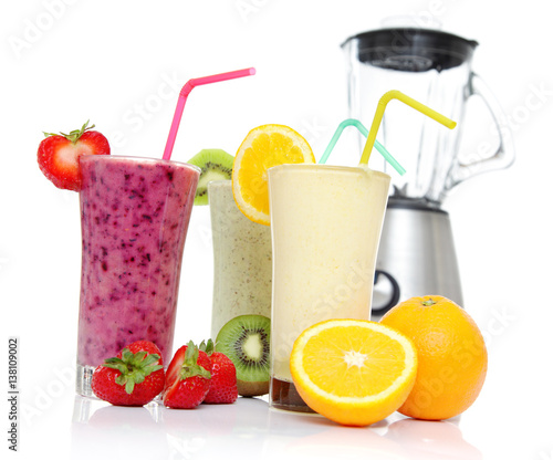 Recess Fitting Juice Healthy Smoothies with fresh fruits and a Blender isolated on white, for a good fit start in your day