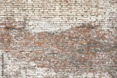 Fond de hotte en verre imprimé Brick wall Old brick wall with white paint background texture