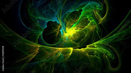 Tuinposter Fractal waves 3D rendering abstract fractal light background