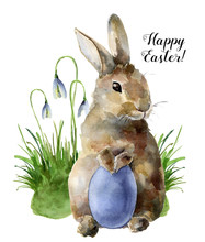 Watercolor Easter Card With Bu...