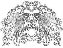 Vector Illustration Of Celtic Ravens Pair Black And White