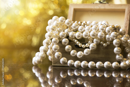 White and golden pearls jewelry gift