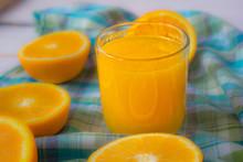 Glass Of Orange Juice On White...
