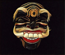 Tribal Mask With Smile And White Teeth. Human Face Mask With Sharp Fangs.