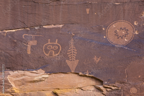 Odd Petroglyph Panel in Butler Wash Poster