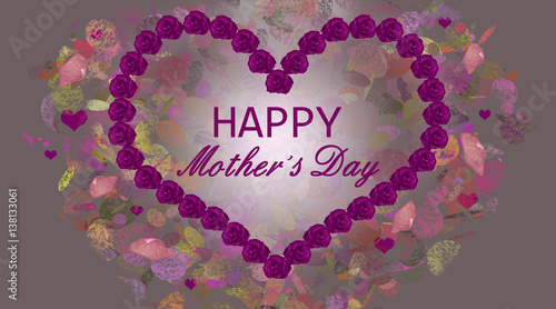 Mothers Day Greeting Card Illustration With Wreath Garland Of