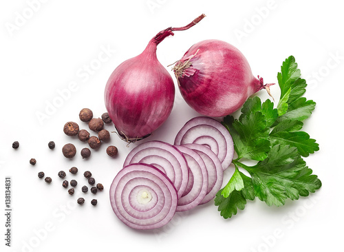 red onions and parsley on white background