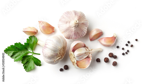 garlic, parsley and pepper on white background