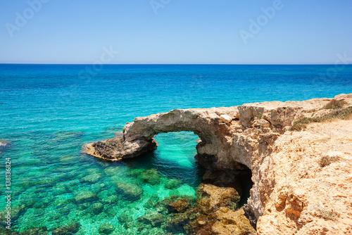 Autocollant pour porte Chypre Tropical sea cave and bridge lovers, Cyprus