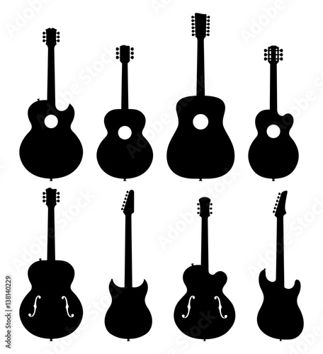 Vector Illustration Of A Set Of No Name, No Brand, Imaginary Jazz Guitar Silhouettes Canvas Print