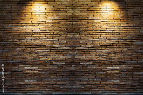 Foto op Aluminium Wand Spotlight at wall brick wall texture background