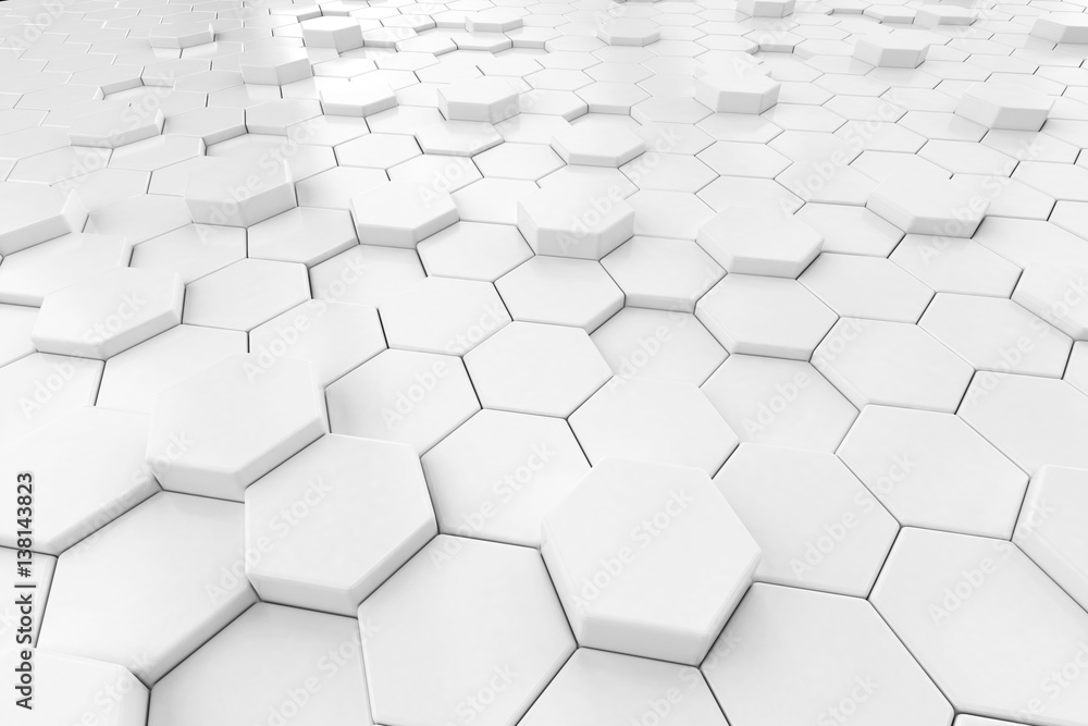 Abstract White hexagon background 3d.