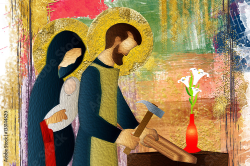 Photo Holy family of Jesus, Mary and St Joseph the worker