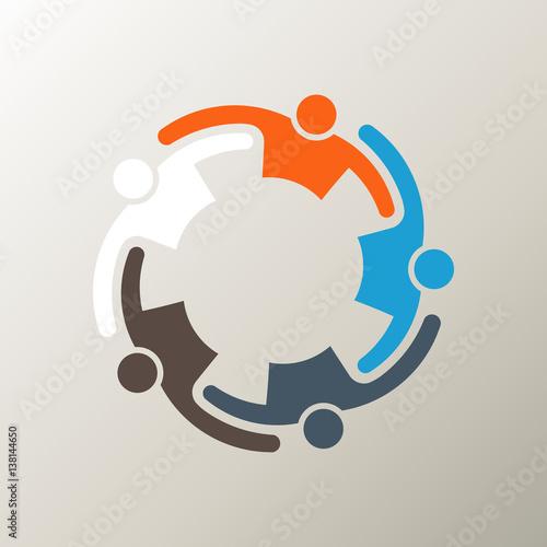 Fotografie, Obraz  People Group Teamwork Logo. Vector graphic design illustration