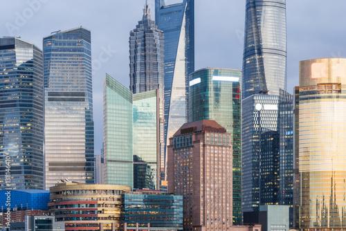 Foto op Plexiglas Panoramafoto s landmarks of modern city,financial district in China.