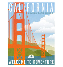 California Travel Poster. Vect...