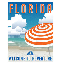 Florida Travel Poster. Detailed Vector Illustration Of Scenic Beach With Striped Umbrella