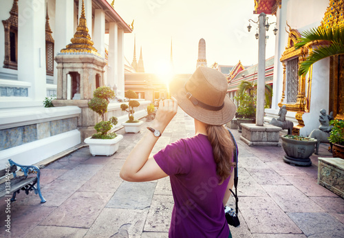 Tourist in the temple in Bangkok Poster