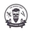 Skull Barber Shop Logo Retro Vintage Design Template. Vector Illustration