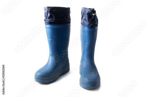 Photo  Pair of blue rubber EVA boots isolated on white