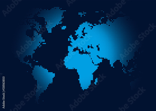 Poster Carte du monde World Continents Map - Dots style illustration