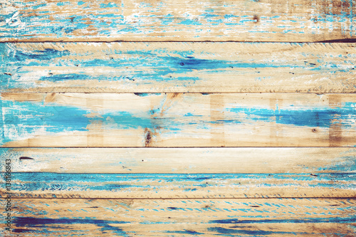 Tuinposter Hout Old wooden background with blue paint. vintage wood texture from beach in summer.