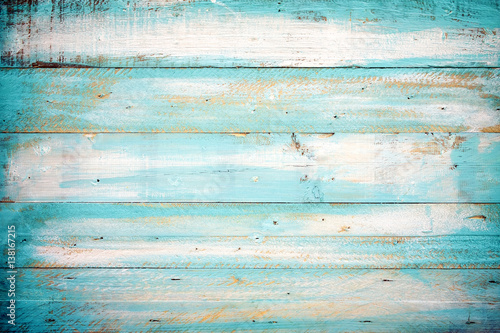 Poster Retro vintage beach wood background - old blue color wooden plank