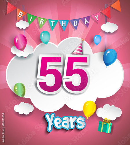 55 Years Birthday Celebration Design With Clouds And Balloons