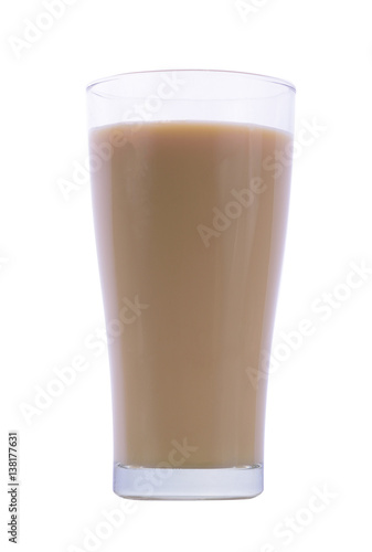 Wall Murals Chocolate glass of white malt milk isolated on white background