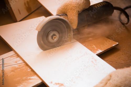 Fototapeta angle grinder in work