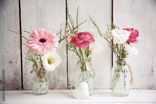 Foto-Leinwand ohne Rahmen - Grußkarte - Blumenstrauß - Frühling Pastell (von S.H.exclusiv)