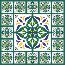 Blue Green Tiles Floor - Vintage Pattern Vector With Ceramic Cement Tiles. Big Tile In Center Is Framed In Small. Background With Portuguese Azulejo, Mexican Talavera, Spanish, Delft Motifs.