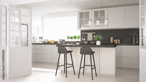 Fototapeta Scandinavian classic kitchen with wooden and white details, minimalistic interior design obraz na płótnie