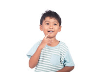 Cute Little Asian Boy Thinking And Smiling