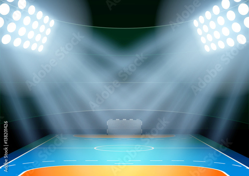 Fototapeta Vertical Background for posters night handball arena in the spotlight
