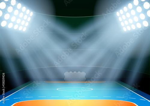 Fotografia, Obraz Vertical Background for posters night handball arena in the spotlight