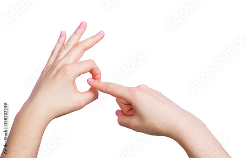 Hand of girl doing sex gesture - Buy this stock photo and