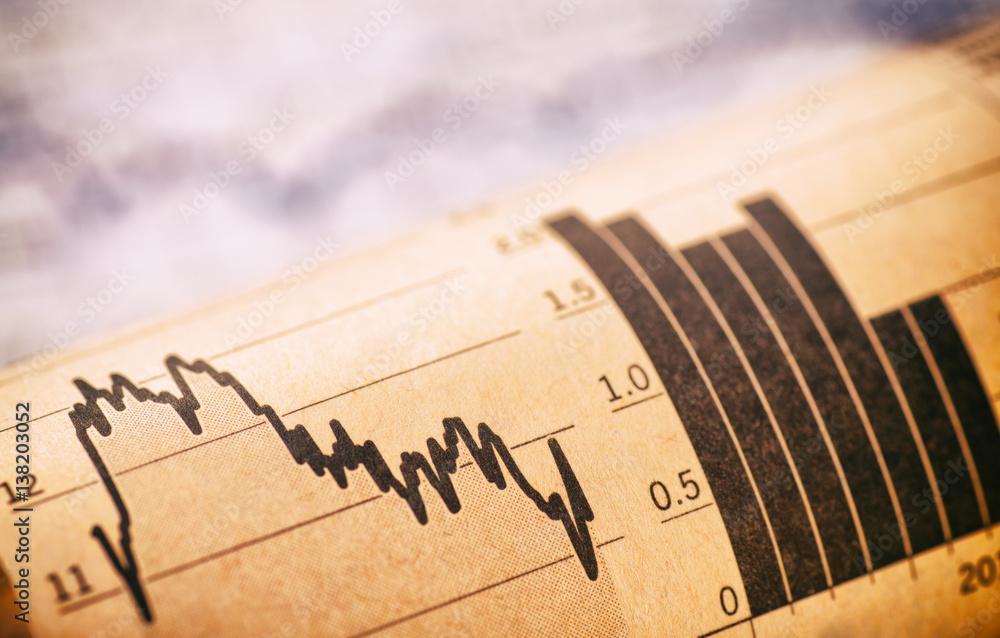 Fototapety, obrazy: Diagramme mit Aktienkursen