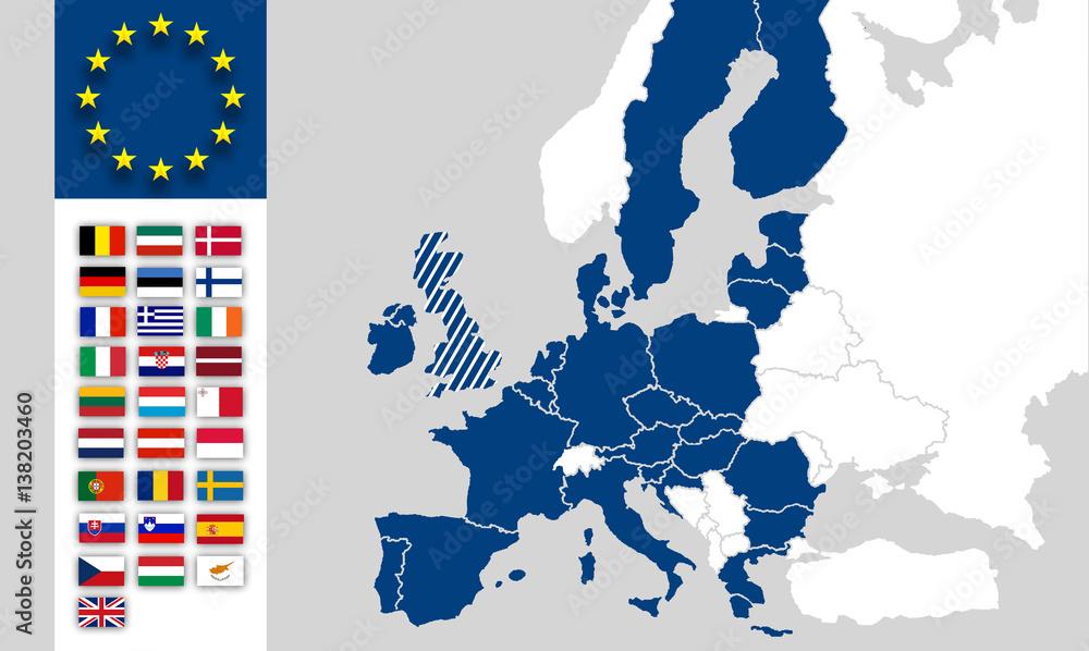 Länder Europas Karte.Fotografie Obraz Eu Karte Europa Eurasien Eu Länder