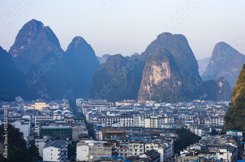 Fotografija Yangshuo cityscape skyline with Karst mountains in Guangxi Province, China
