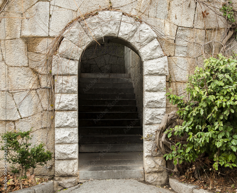 Fototapety, obrazy: stone arch with internal stairs