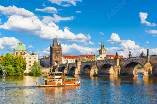 Prague, Czech Republic, Charles Bridge across Vltava river on which the ship sai Canvas Print