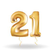 Number Twenty One Metallic Balloon