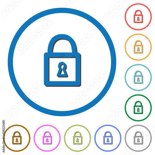 Locked padlock icons with shadows and outlines Wall mural
