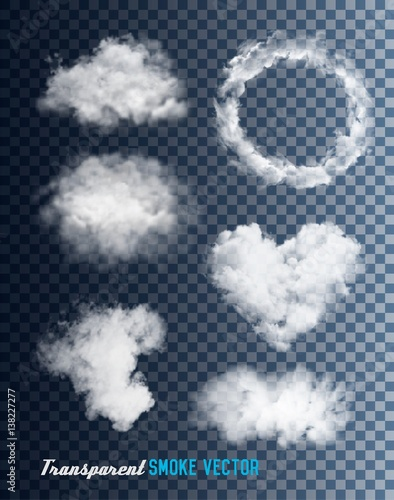 In de dag Rook Transparent set of smoke vectors