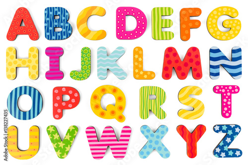 Colorful wood alphabet letters on a white background Fototapet
