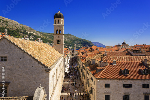 Dubrovnik Old Town main street view from City Walls Poster