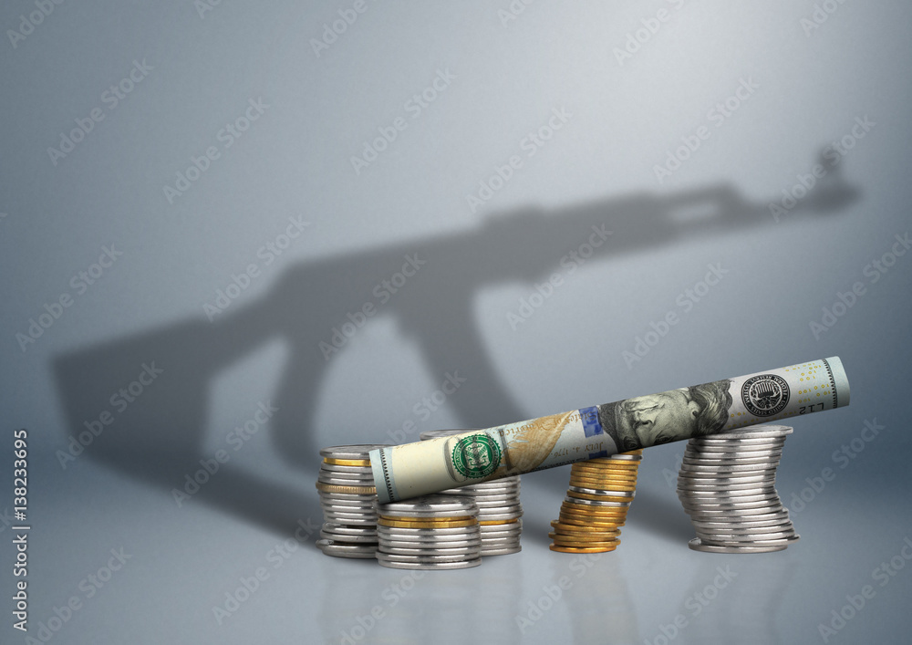 Fototapeta defense budget concept, money with gun shadow